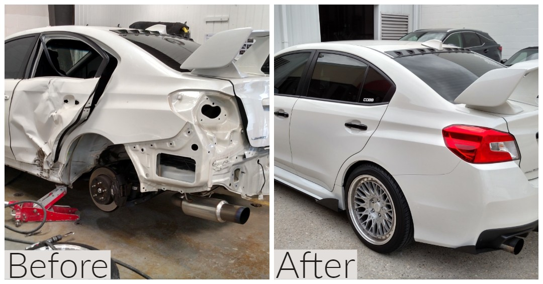 Before and after photo of rear door, tail light, and bumber repair