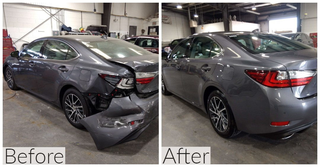 Before and after photo of rear bumper repair