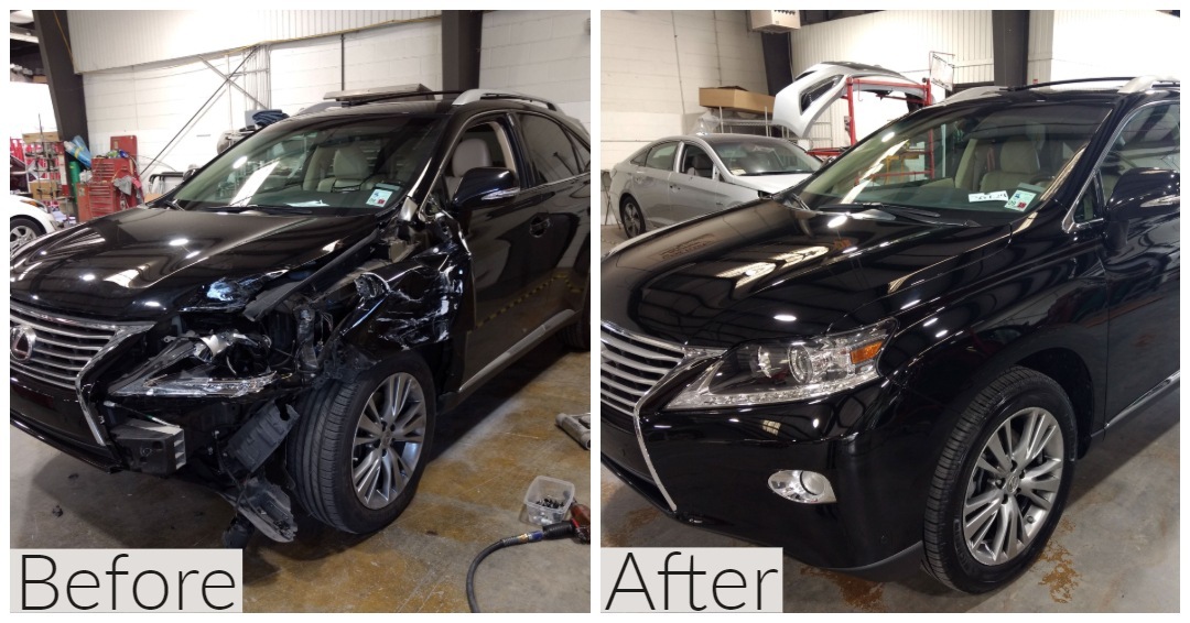 Before and after photo of front tail light and body repair