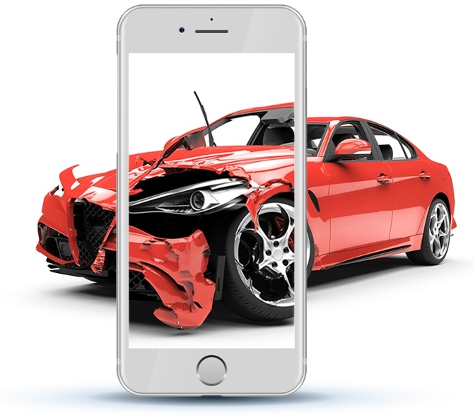 A phone taking a photo of car damage
